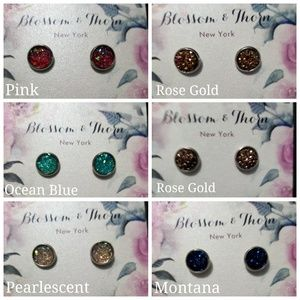 Blossom & Thorn Jewelry - Pink Druzy Stud Earings Surgical Steel Post